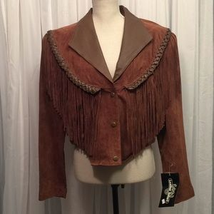 NWT Leather Gallery Western Braided Fringe Jacket